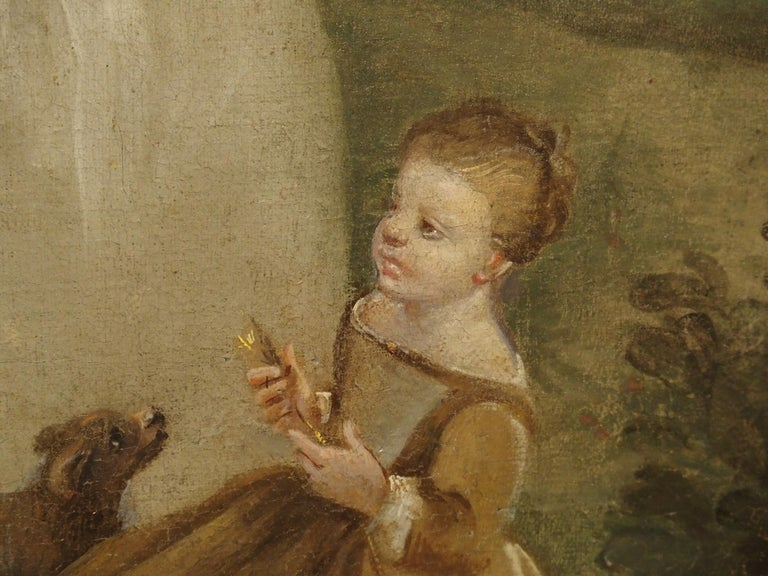18th Century French Genre Scene Overdoor Painting, circa 1770 For Sale 7