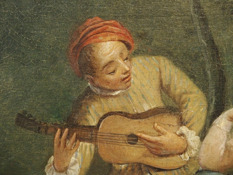 18th Century French Genre Scene Overdoor Painting, circa 1770 For Sale 8