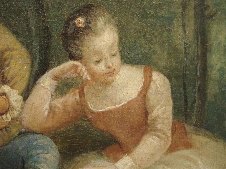 18th Century French Genre Scene Overdoor Painting, circa 1770 For Sale 9