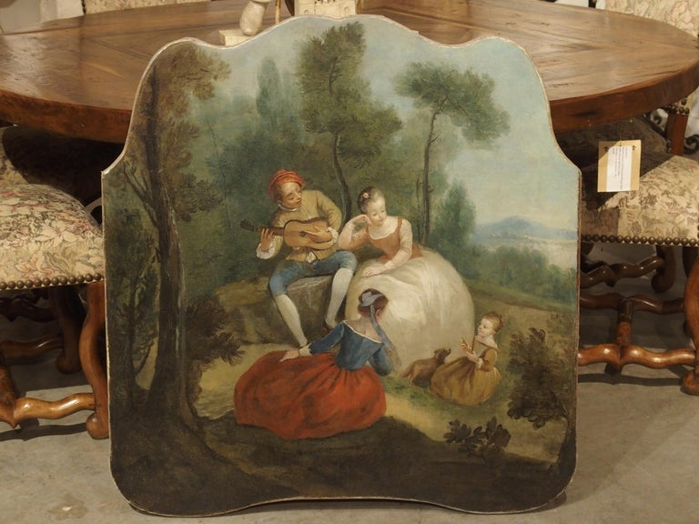 18th Century French Genre Scene Overdoor Painting, circa 1770 For Sale 13