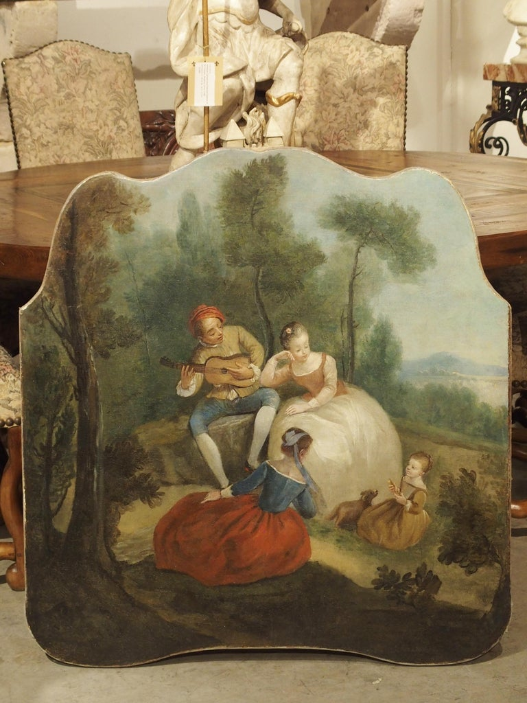 This colorful and gleeful genre painting is from France, circa 1770. Genre paintings depict people engaged in common activities, such as picnicking, strolling through a park, or romantic settings. In the 17th and 18th centuries, paintings of this