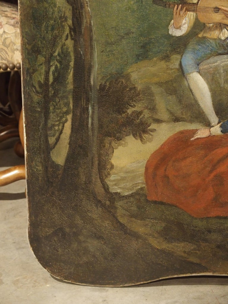 Hand-Painted 18th Century French Genre Scene Overdoor Painting, circa 1770 For Sale