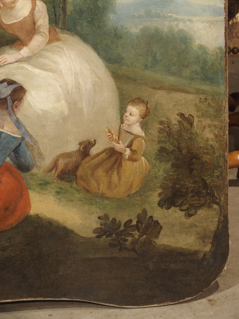 Wood 18th Century French Genre Scene Overdoor Painting, circa 1770 For Sale