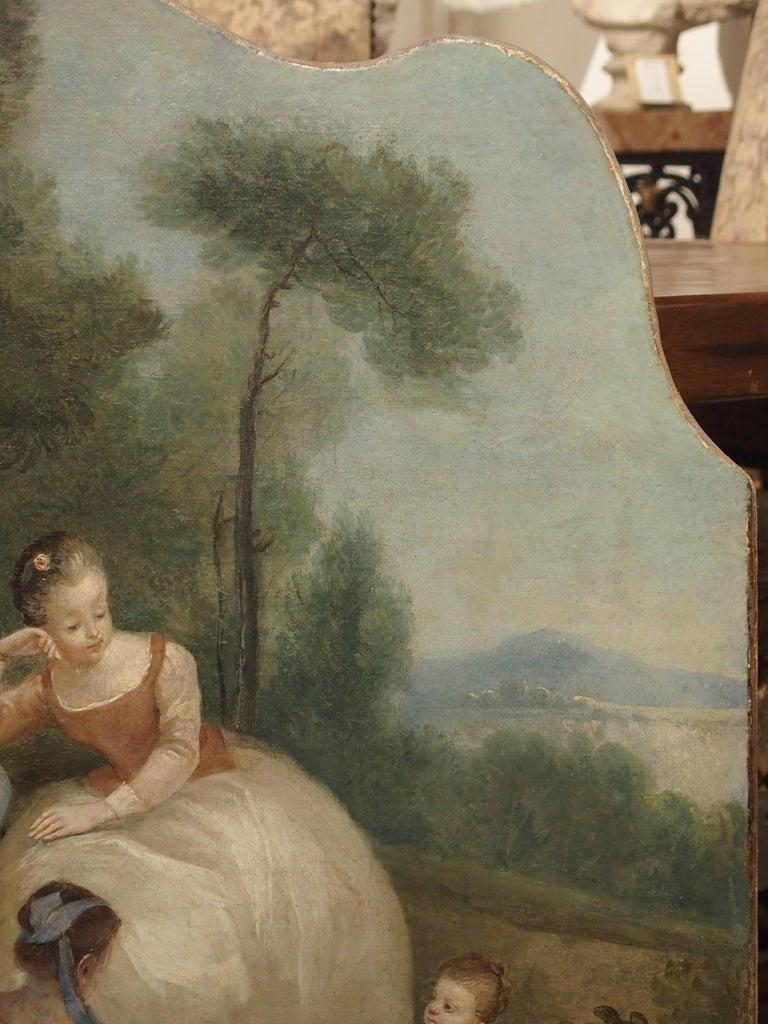 18th Century French Genre Scene Overdoor Painting, circa 1770 For Sale 1