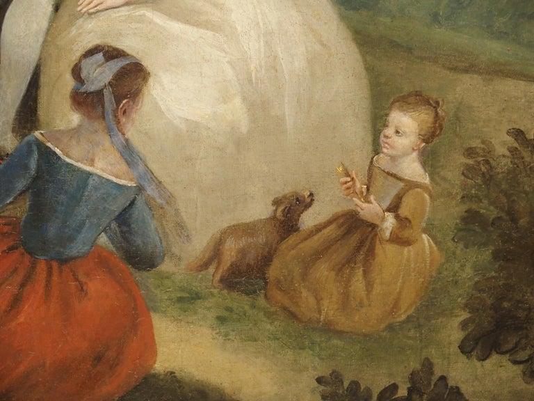 18th Century French Genre Scene Overdoor Painting, circa 1770 For Sale 4
