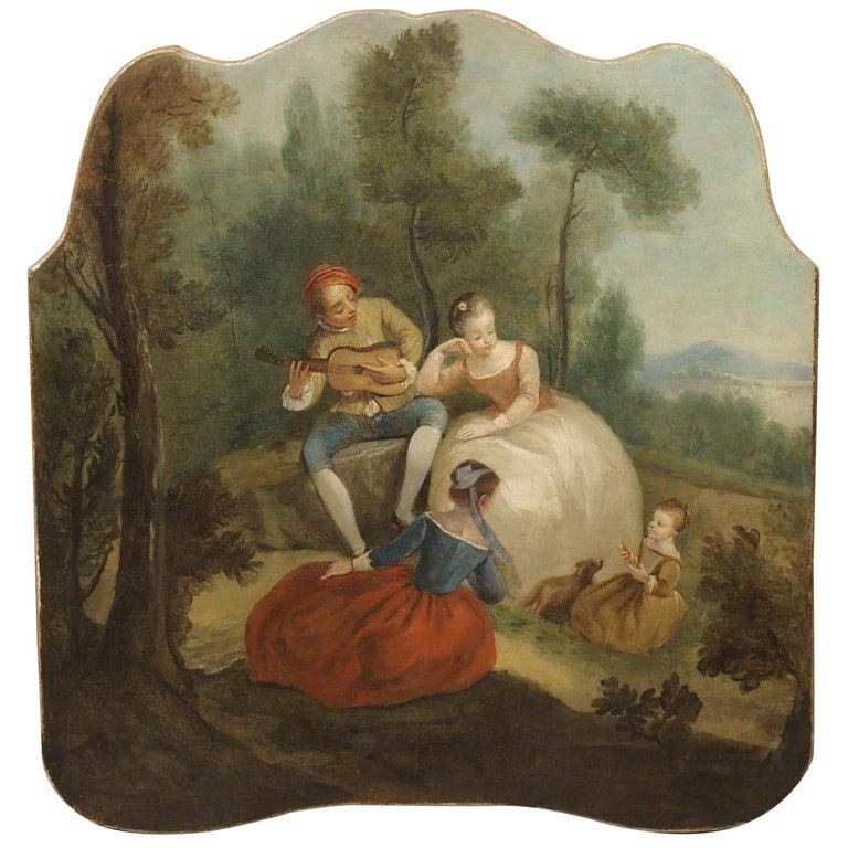 18th Century French Genre Scene Overdoor Painting, circa 1770 For Sale
