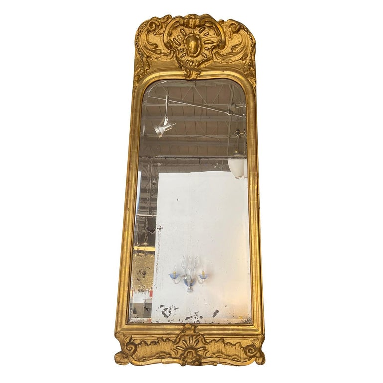 Hand-Carved 18th Century French Gilded Rococo Wall Mirror For Sale