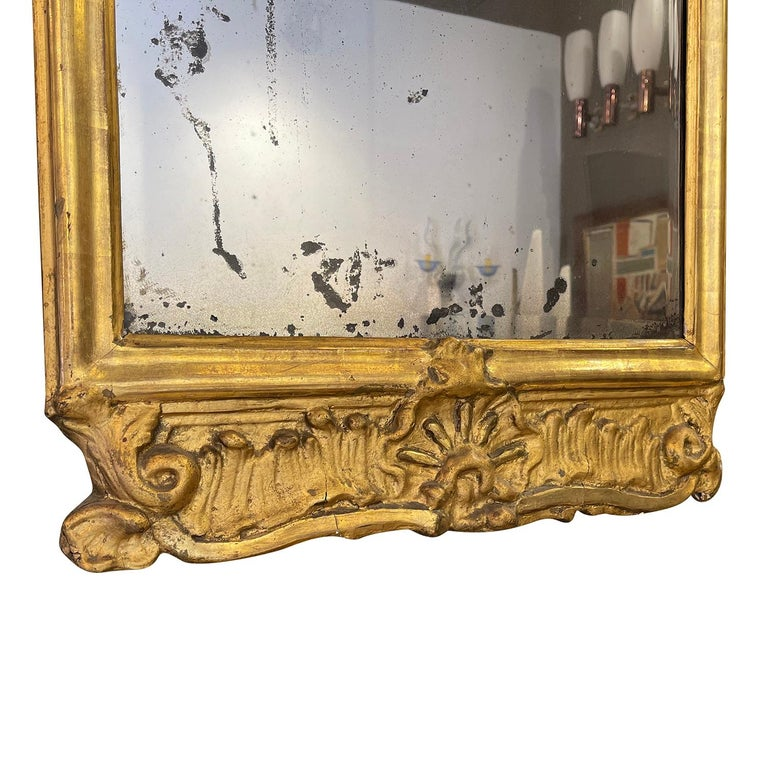 18th Century French Gilded Rococo Wall Mirror For Sale 1