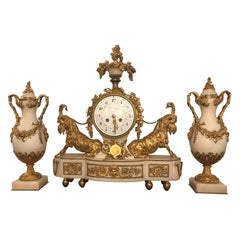 18th Century French Gilt Bronze and Marble Clock and Garniture by Crosnier