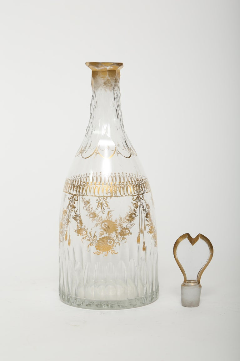 Antique 18th century blown decanter and single glass. (There is a second glass with a repair which will be included at no charge). This style of decanter so popular in the eighteenth century is referred to as a tapered body. The neck is silesian cut