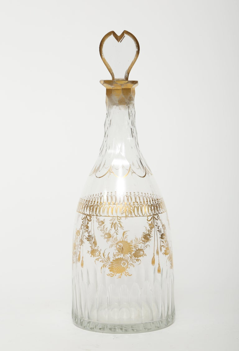 Louis XVI Tapered Body French Gilt  Decanter with Wine Glass- 18th Century  For Sale