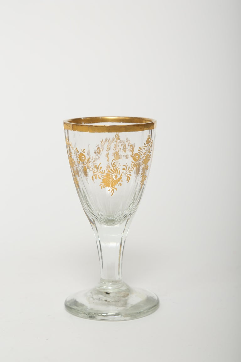 French Gilt Tapered Body Decanter with Wine Glass- 18th Century  For Sale 2