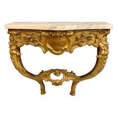 18th Century French Gilt Wall Mounted Console Table with Marble Top