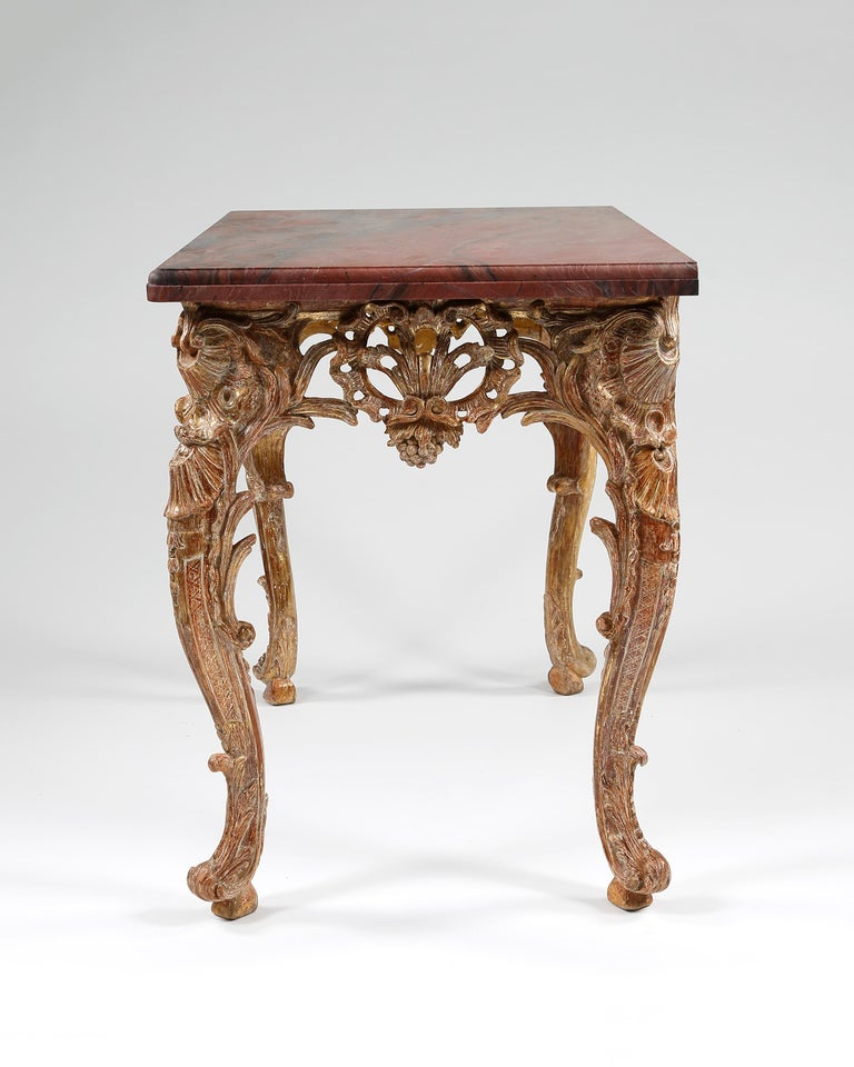 Rococo 18th Century French Giltwood Console Table For Sale