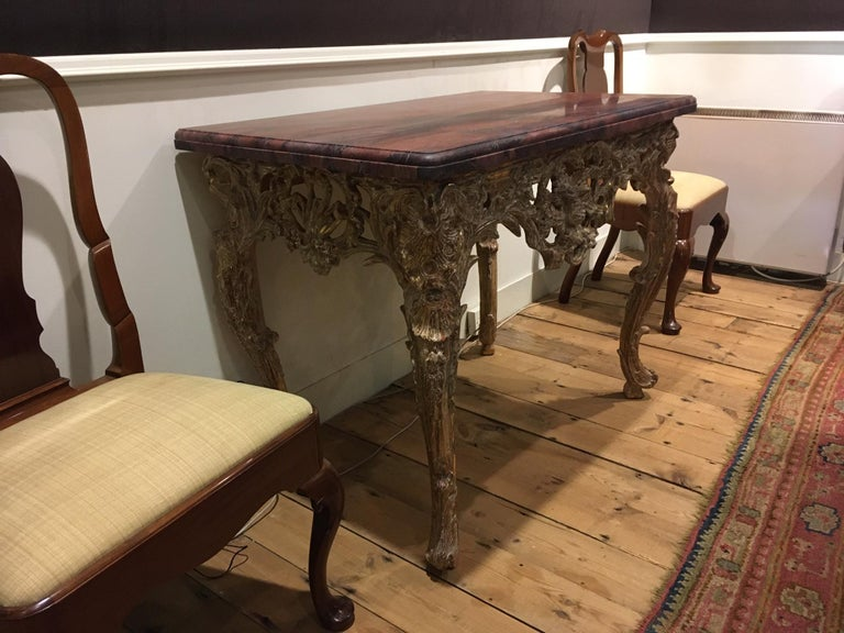 18th Century French Giltwood Console Table In Good Condition For Sale In Edenbridge, Kent