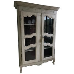 18th Century French Glass Patinated Louis XV Style Armoire