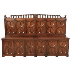 18th Century French Gothic Revival Period Walnut Settle or Hall Bench with Lift