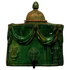 18th Century French Green Terra Cotta Wine Cooler, Provencal Table Décor