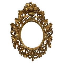 18th Century French Hand Carved Golden Wood Frame