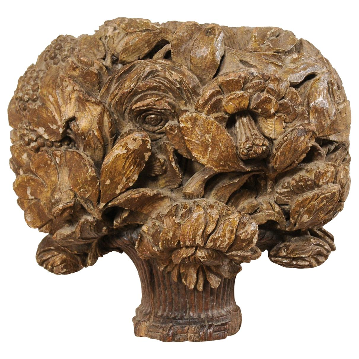 18th Century French Hand Carved Wood Floral Bouquet Wall Ornament Plaque