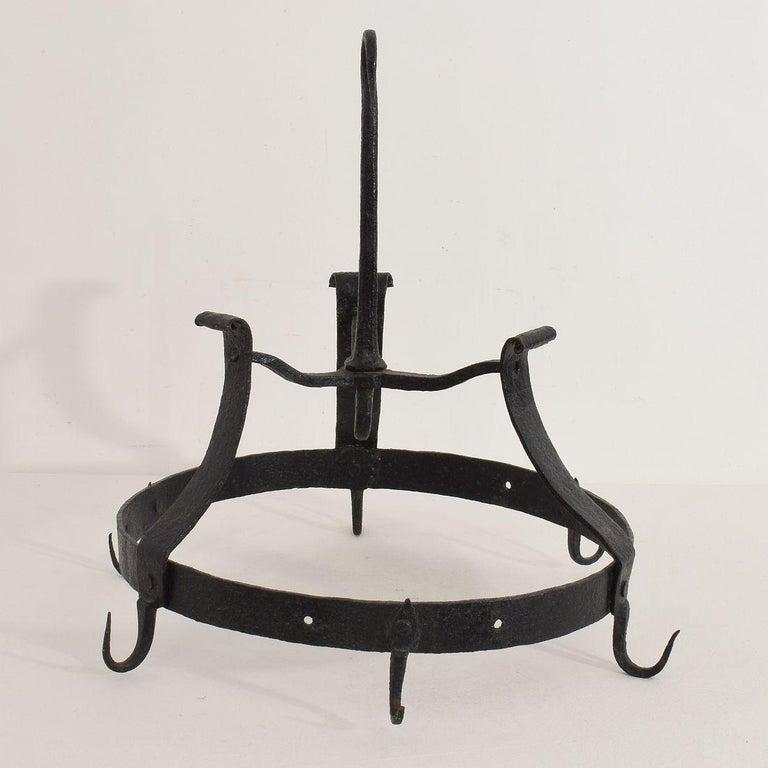 Primitive 18th Century French Hand Forged Iron Game Rack For Sale