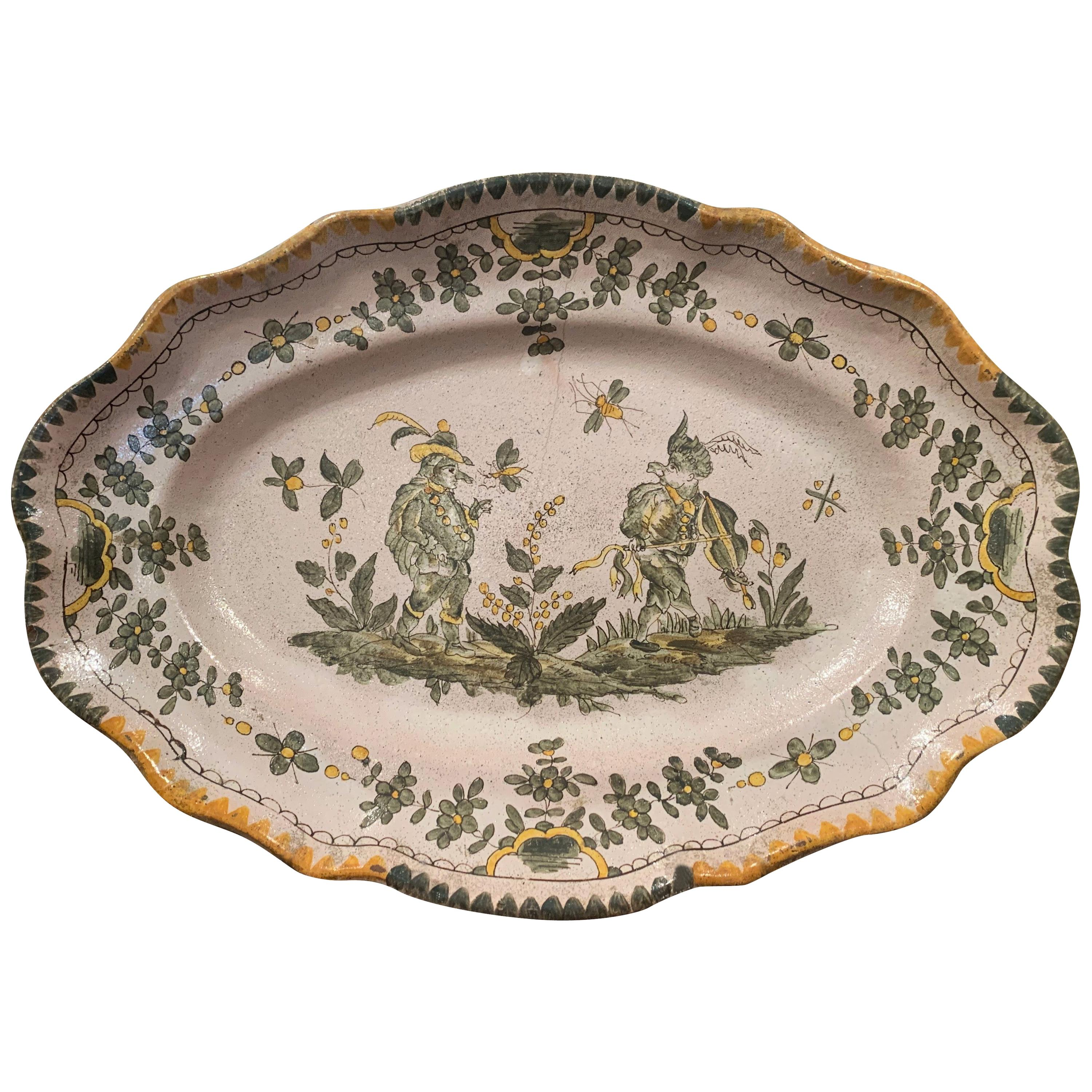 18th Century French Hand Painted Ceramic Wall Platter from Moustiers