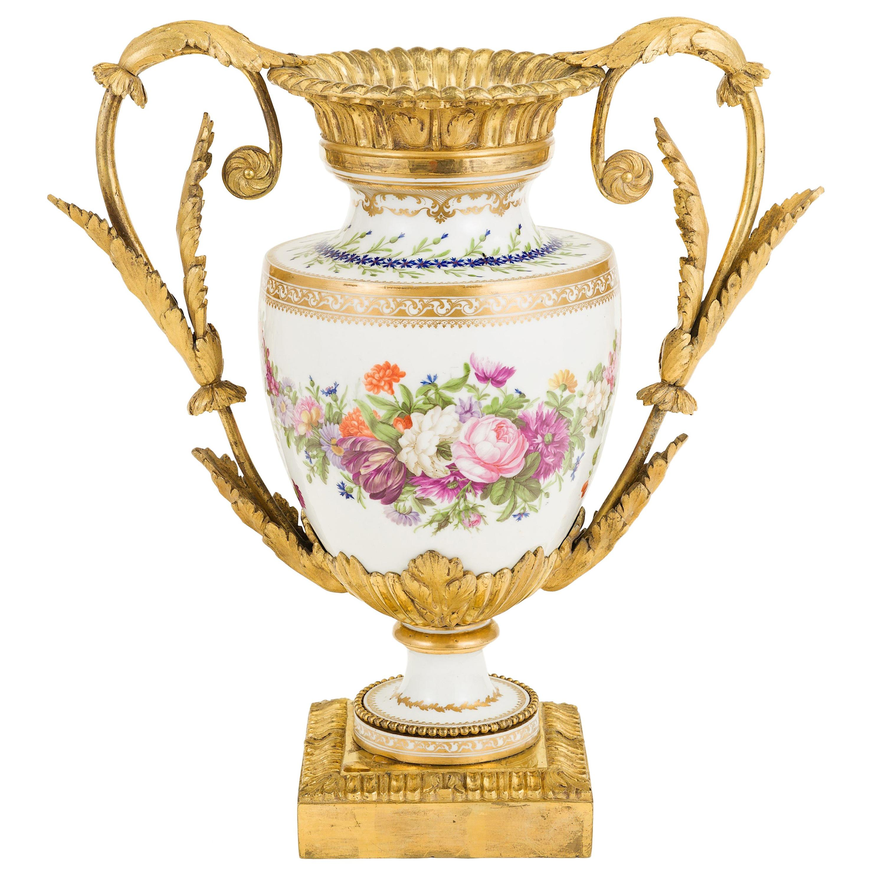 18th Century French Hand Painted Porcelain in Gilt-Mount 'Ormolu', Centrepiece