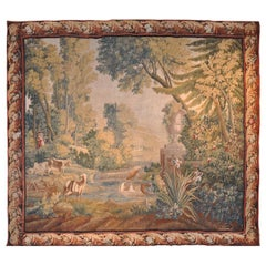 18th Century French Handwoven Pastoral Verdure Aubusson Tapestry