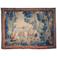 "18th Century French Handwoven Aubusson Tapestry, The ""Colin-Maillard"" Game"