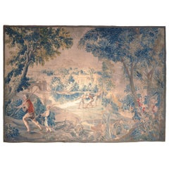 18th Century French Handwoven Aubusson Verdure Tapestry with Fishermen