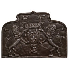 18th Century French Iron Fireback with Coat of Arms and Fleurs de Lys