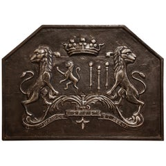 18th Century French Iron Fireback with Crown, Lions and Motto