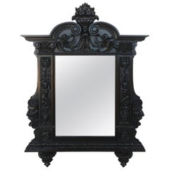 18th Century French Large Flemish Baroque Walnut Ebonized Mirror