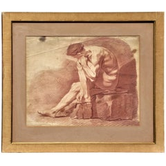 18th Century French Large Sepia Engraving Figure Study Naked Man