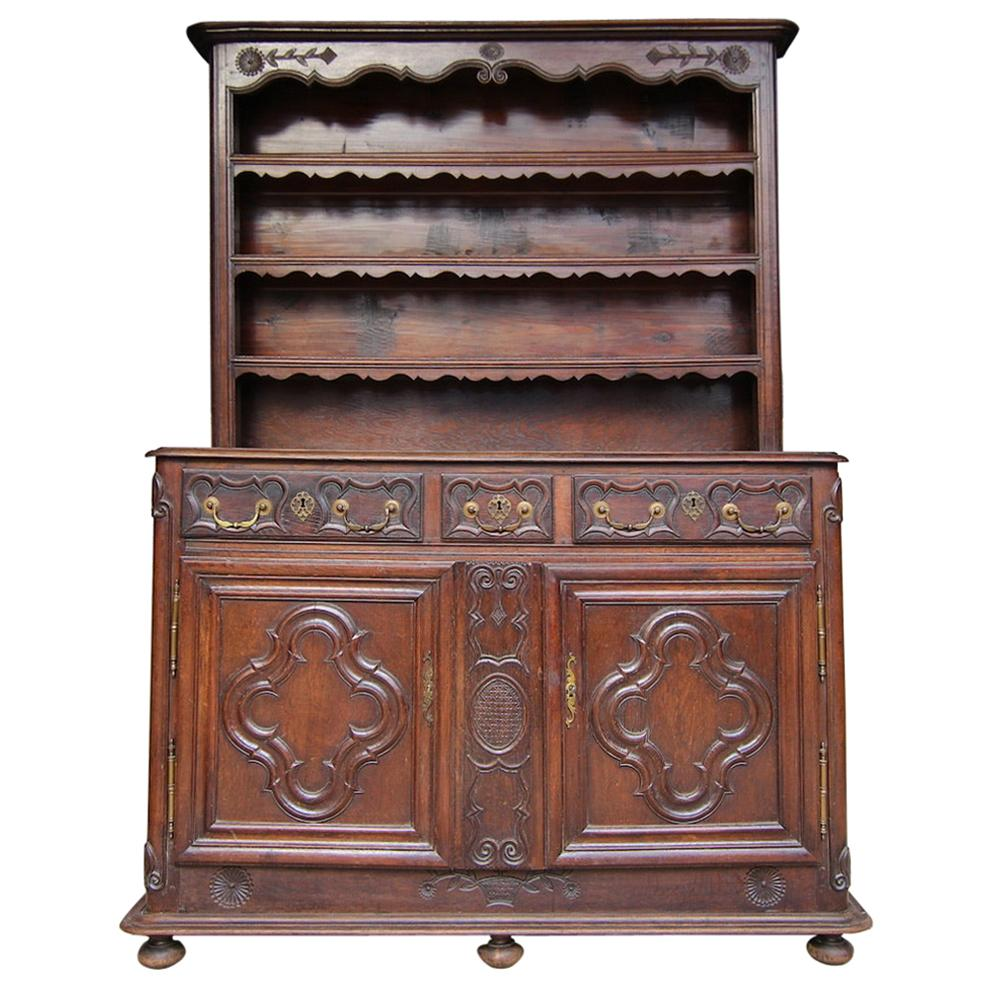 18th Century French Lorraine Vaisselier Buffet Made of Oak