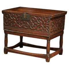 18th Century, French, Louis XIII Carved Oak Trunk Side Table with Floral Decor