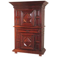 18th Century French Louis XIII Carved Walnut Cabinet with Diamond Shaped Decor