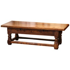 18th Century French Louis XIII Carved Walnut Coffee Table with Drawers