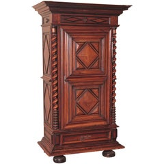 18th Century French Louis XIII Carved Walnut One-Door Armoire Bonnetiere