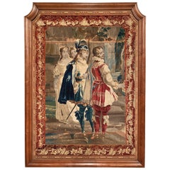 18th Century French Louis XIII Handwoven Aubusson Panel Tapestry in Oak Frame