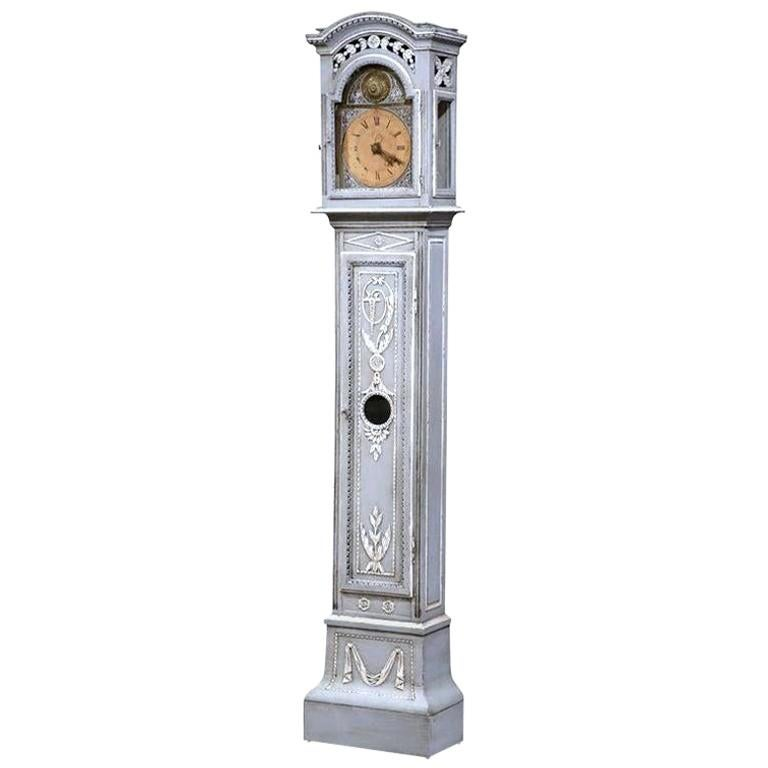 18th Century French Louis XIV Carved Oak Painted Grandfather Long Case Clock