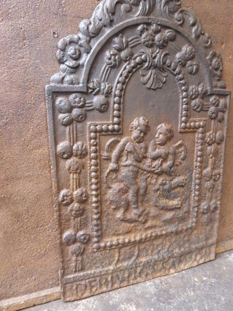18th Century French Louis XIV Cupids Fireback For Sale 3
