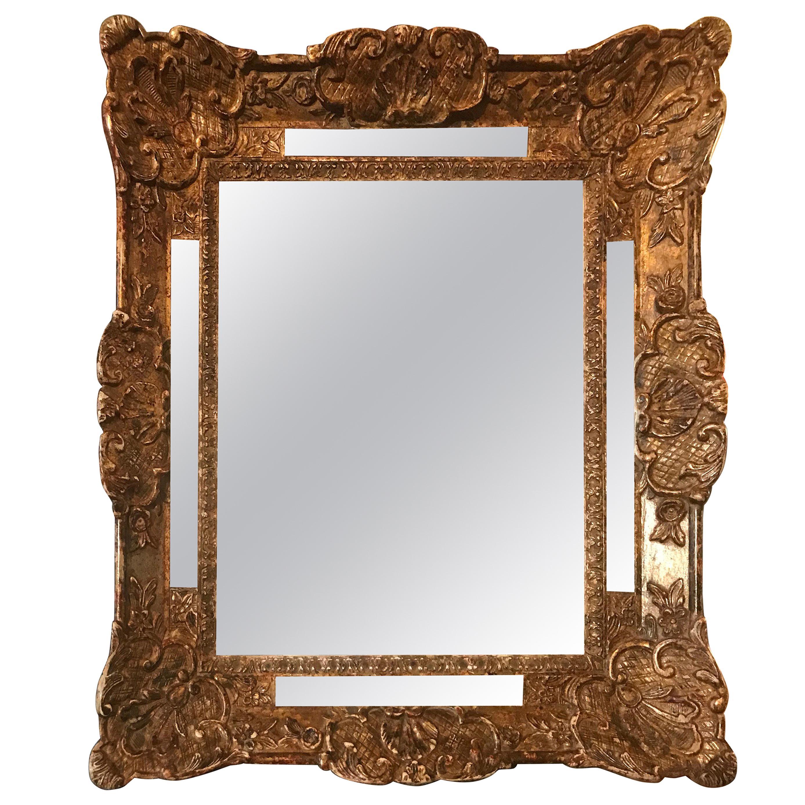 18th Century French Louis XIV Cushion Style Mirror