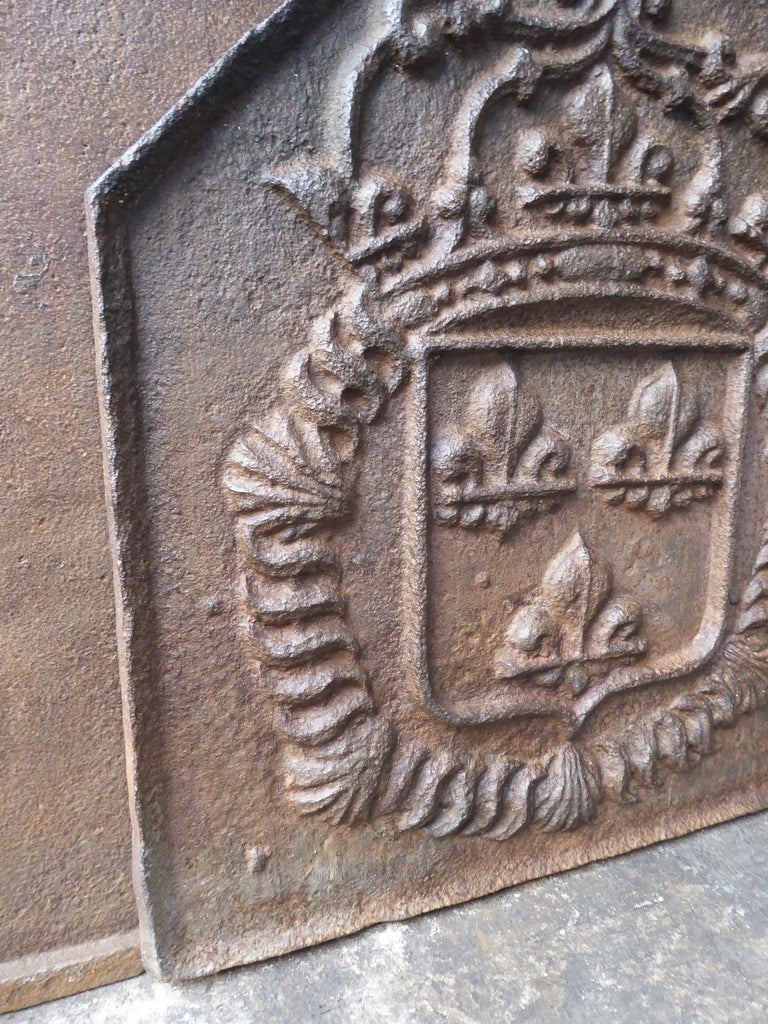 Cast 18th Century French Louis XIV Fireback with the Coat of Arms of France For Sale