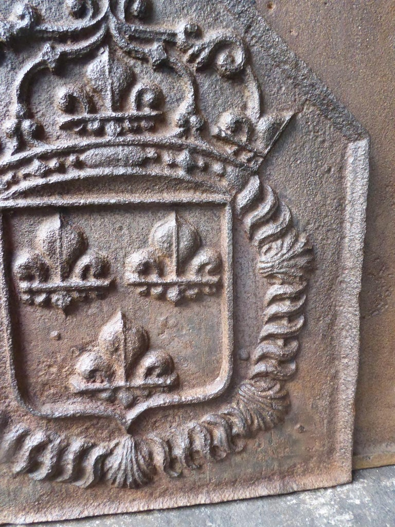 Iron 18th Century French Louis XIV Fireback with the Coat of Arms of France For Sale