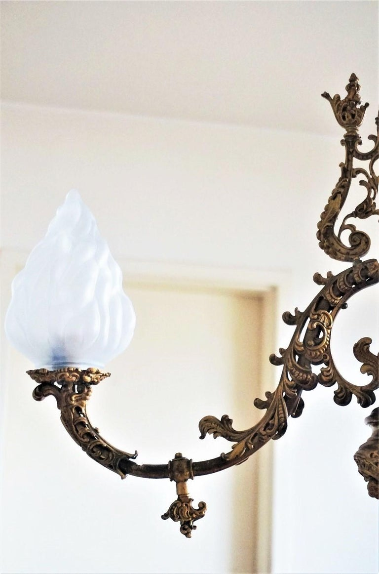 Fine 18th Century French Louis XVI Style Fire-Gilded Bronze Electried Chandelier For Sale 11