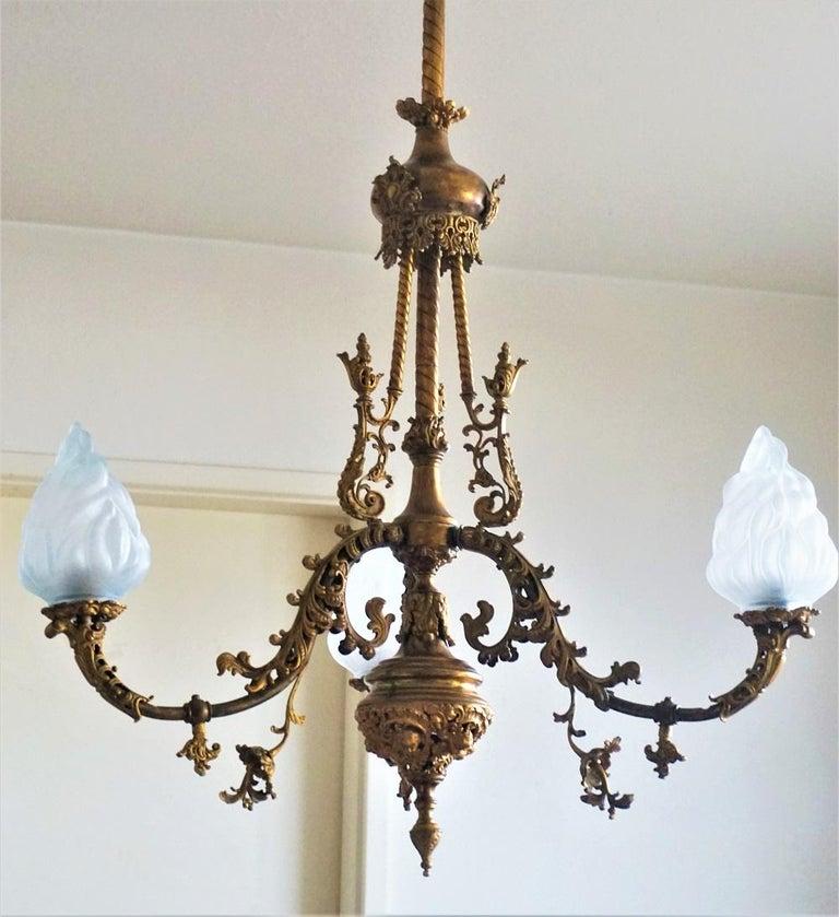 Frosted Fine 18th Century French Louis XVI Style Fire-Gilded Bronze Electried Chandelier For Sale