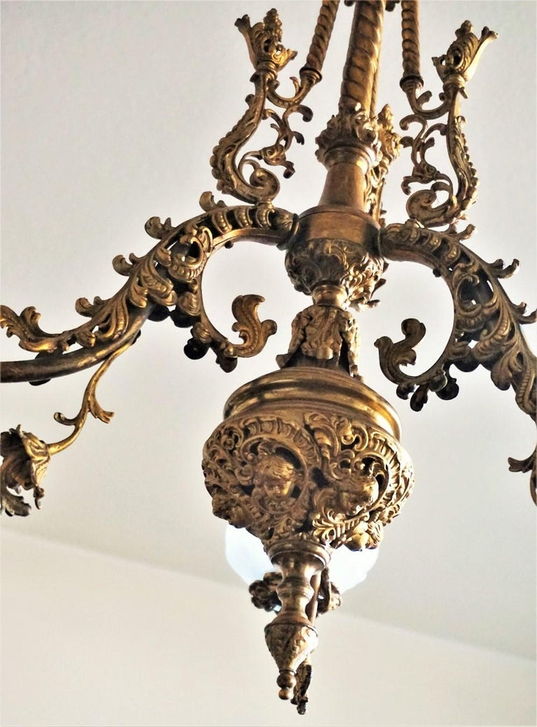 Fine 18th Century French Louis XVI Style Fire-Gilded Bronze Electried Chandelier For Sale 4