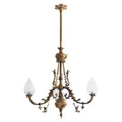 18th Century French Louis XIV Style Fire-Gilded Bronze Electried Chandelier
