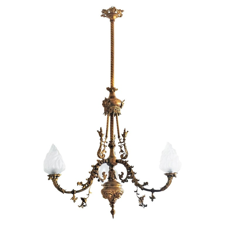 Fine 18th Century French Louis XVI Style Fire-Gilded Bronze Electried Chandelier For Sale